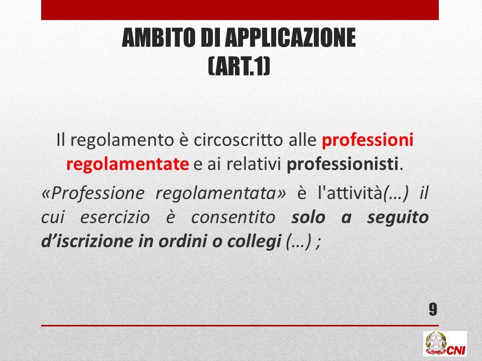 AMBITO DI APPLICAZIONE (ART.1) Il regolamento è circoscritto alle professioni regolamentate e ai relativi professionisti.