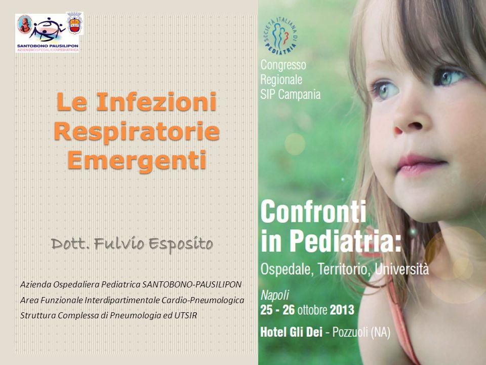 Le Infezioni Respiratorie Emergenti Dott. Fulvio Esposito Dott. Fulvio Esposito Azienda Ospedaliera Pediatrica SANTOBONO-PAUSILIPON Area Funzionale In