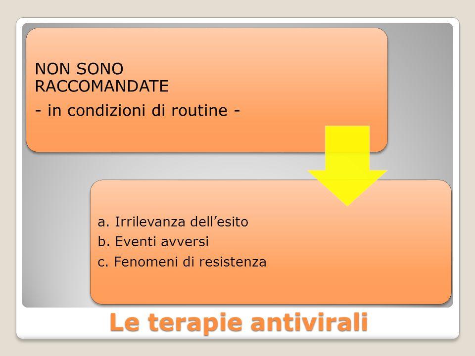 Le terapie antivirali NON SONO RACCOMANDATE - in condizioni di routine - a. Irrilevanza dellesito b. Eventi avversi c. Fenomeni di resistenza