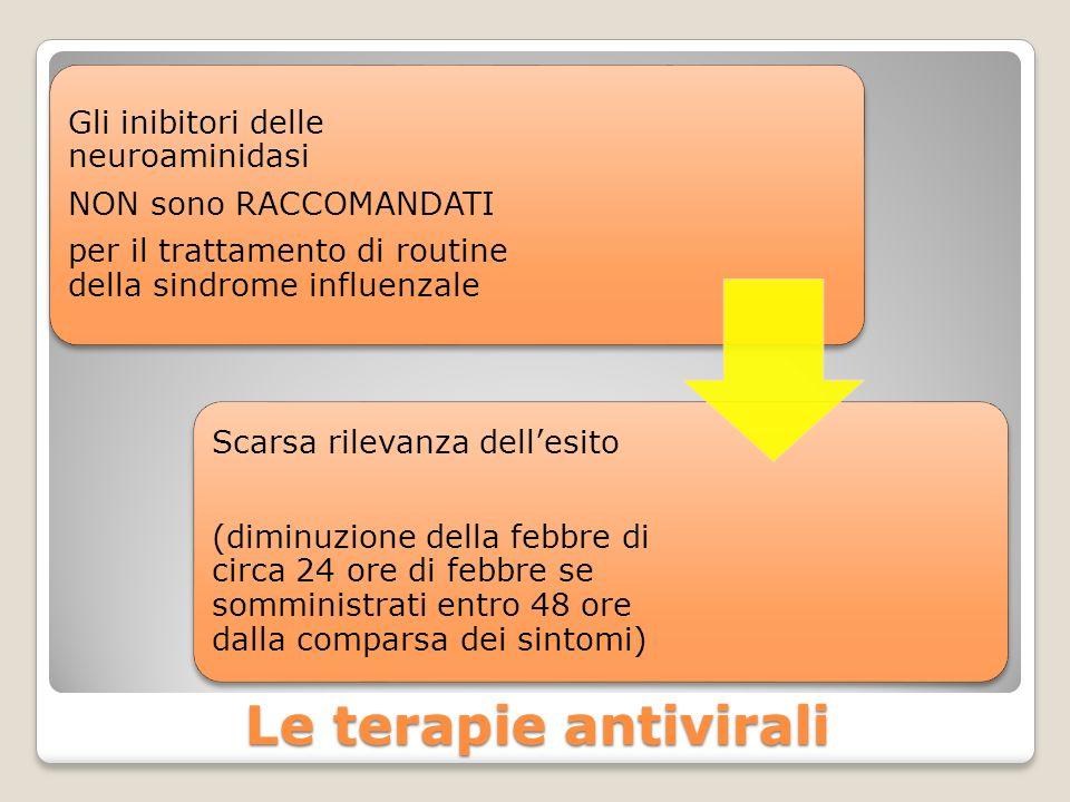 Le terapie antivirali Gli inibitori delle neuroaminidasi NON sono RACCOMANDATI per il trattamento di routine della sindrome influenzale Scarsa rilevan