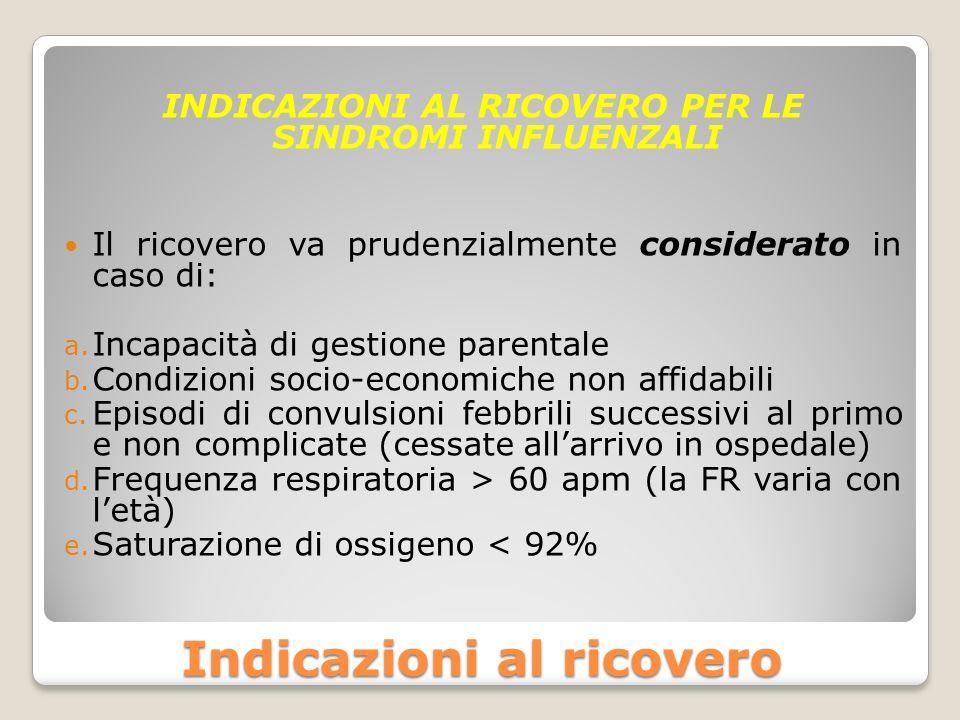Indicazioni al ricovero INDICAZIONI AL RICOVERO PER LE SINDROMI INFLUENZALI Il ricovero va prudenzialmente considerato in caso di: a. Incapacità di ge
