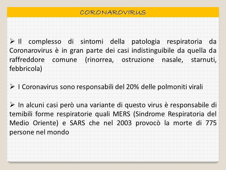 CORONAROVIRUS Il complesso di sintomi della patologia respiratoria da Coronarovirus è in gran parte dei casi indistinguibile da quella da raffreddore