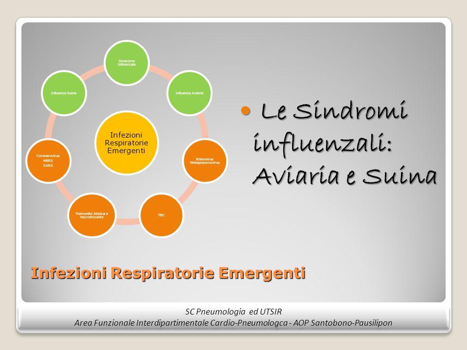 Infezioni Respiratorie Emergenti Le Sindromi influenzali: Aviaria e Suina Le Sindromi influenzali: Aviaria e Suina SC Pneumologia ed UTSIR Area Funzio