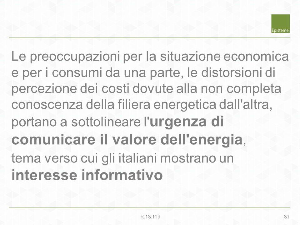 31R.13.119 Le preoccupazioni per la situazione economica e per i consumi da una parte, le distorsioni di percezione dei costi dovute alla non completa