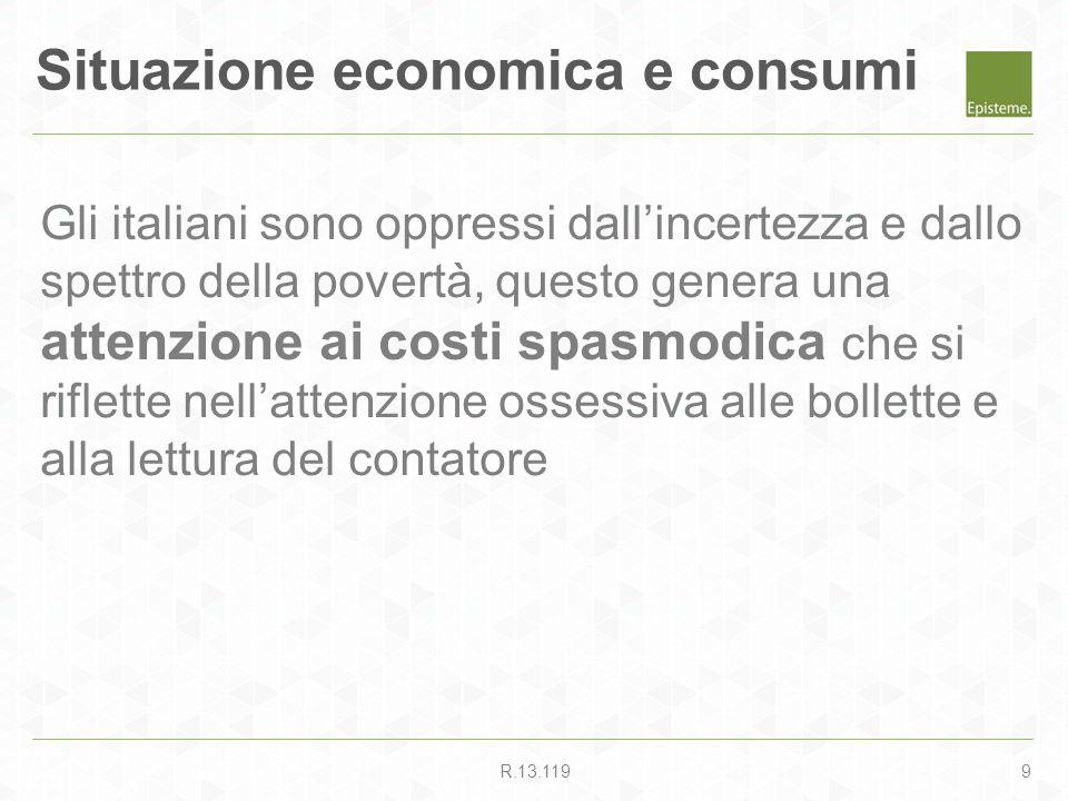 9R.13.119 Gli italiani sono oppressi dallincertezza e dallo spettro della povertà, questo genera una attenzione ai costi spasmodica che si riflette ne