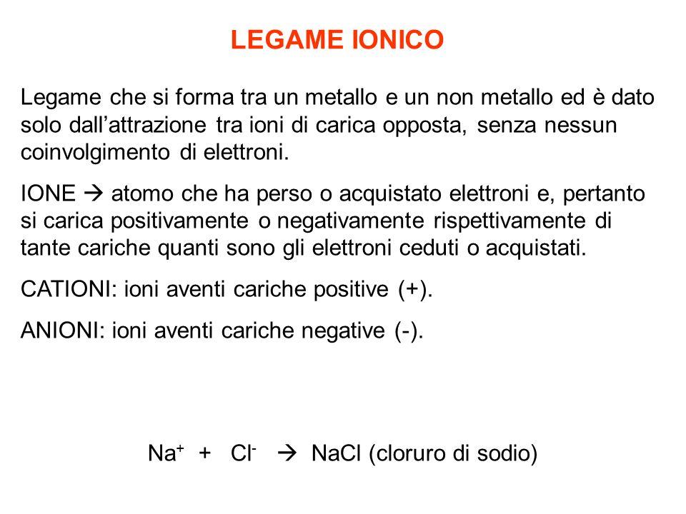 LEGAME IONICO Legame che si forma tra un metallo e un non metallo ed è dato solo dallattrazione tra ioni di carica opposta, senza nessun coinvolgimento di elettroni.