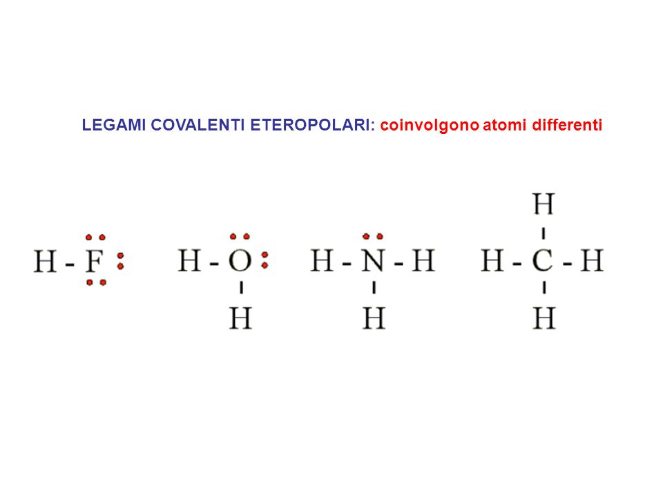LEGAMI COVALENTI ETEROPOLARI: coinvolgono atomi differenti