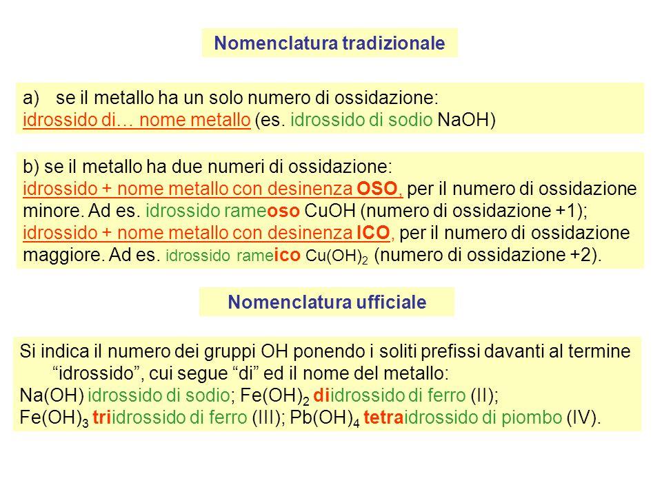 Nomenclatura tradizionale a)se il metallo ha un solo numero di ossidazione: idrossido di… nome metallo (es.
