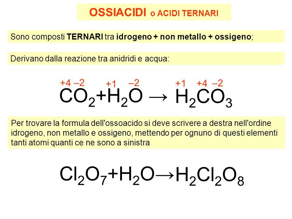 OSSIACIDI o ACIDI TERNARI Sono composti TERNARI tra idrogeno + non metallo + ossigeno; Derivano dalla reazione tra anidridi e acqua: CO 2 +H 2 O H 2 CO 3 +1 +4 –2 +1 +4 Per trovare la formula dell ossoacido si deve scrivere a destra nell ordine idrogeno, non metallo e ossigeno, mettendo per ognuno di questi elementi tanti atomi quanti ce ne sono a sinistra Cl 2 O 7 +H 2 O H 2 Cl 2 O 8