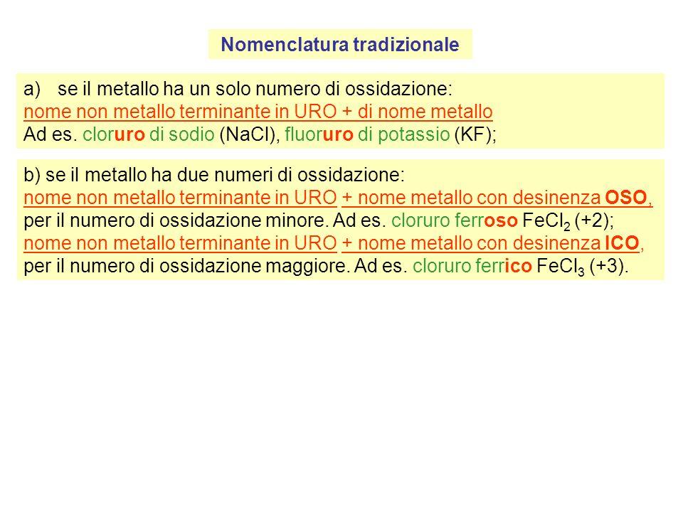 Nomenclatura tradizionale a)se il metallo ha un solo numero di ossidazione: nome non metallo terminante in URO + di nome metallo Ad es.