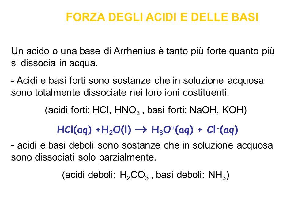 FORZA DEGLI ACIDI E DELLE BASI Un acido o una base di Arrhenius è tanto più forte quanto più si dissocia in acqua.