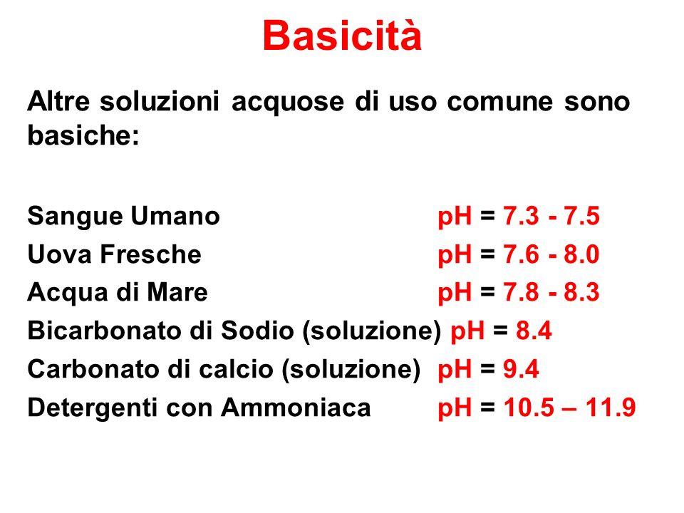 Basicità Altre soluzioni acquose di uso comune sono basiche: Sangue Umano pH = 7.3 - 7.5 Uova Fresche pH = 7.6 - 8.0 Acqua di Mare pH = 7.8 - 8.3 Bicarbonato di Sodio (soluzione) pH = 8.4 Carbonato di calcio (soluzione) pH = 9.4 Detergenti con Ammoniaca pH = 10.5 – 11.9
