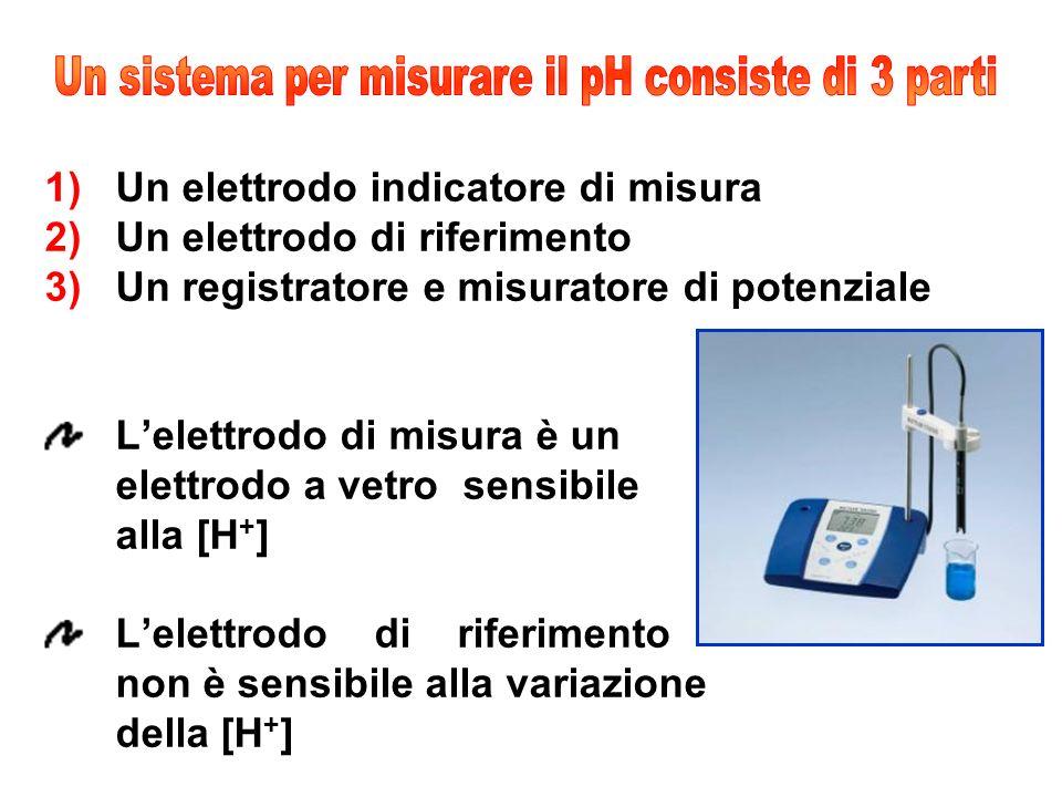 1)Un elettrodo indicatore di misura 2)Un elettrodo di riferimento 3)Un registratore e misuratore di potenziale Lelettrodo di misura è un elettrodo a vetro sensibile alla [H + ] Lelettrodo di riferimento non è sensibile alla variazione della [H + ]