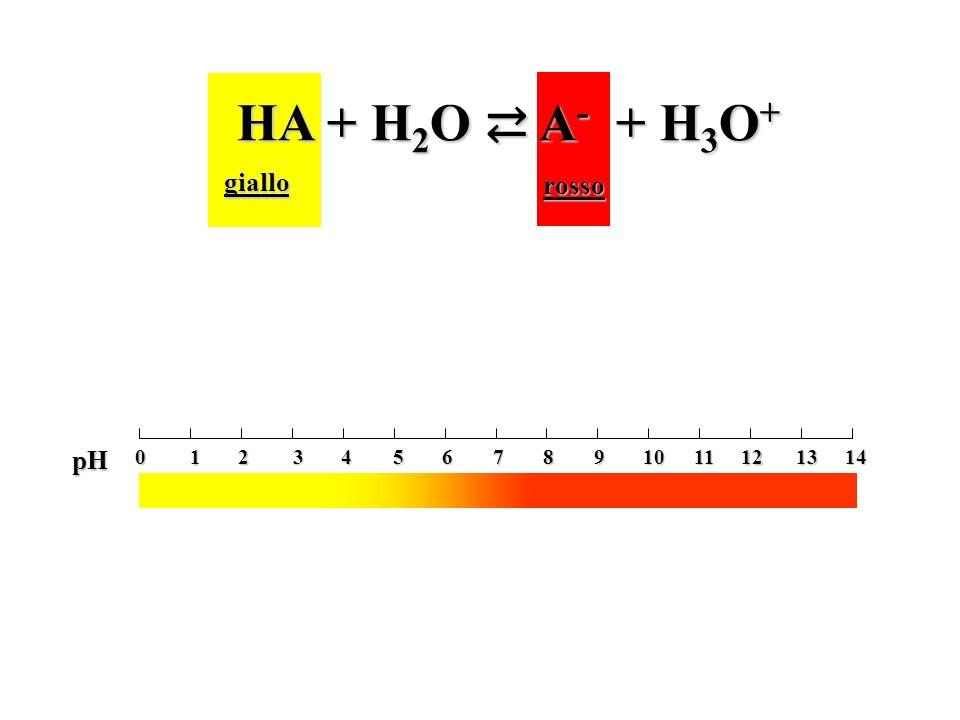 HA + H 2 O A - + H 3 O + giallo rosso 0 2 4 6 1 3 5 7 8 10 12 14 9 11 13 pH