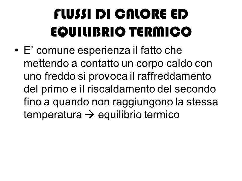 FLUSSI DI CALORE ED EQUILIBRIO TERMICO E comune esperienza il fatto che mettendo a contatto un corpo caldo con uno freddo si provoca il raffreddamento del primo e il riscaldamento del secondo fino a quando non raggiungono la stessa temperatura equilibrio termico