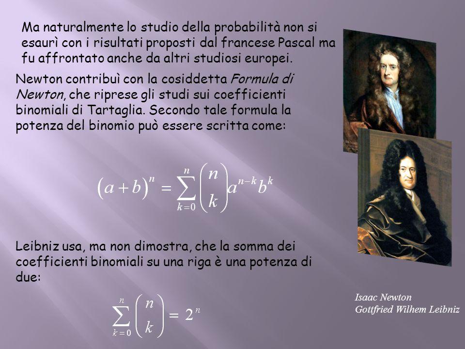 Ma naturalmente lo studio della probabilità non si esaurì con i risultati proposti dal francese Pascal ma fu affrontato anche da altri studiosi europe