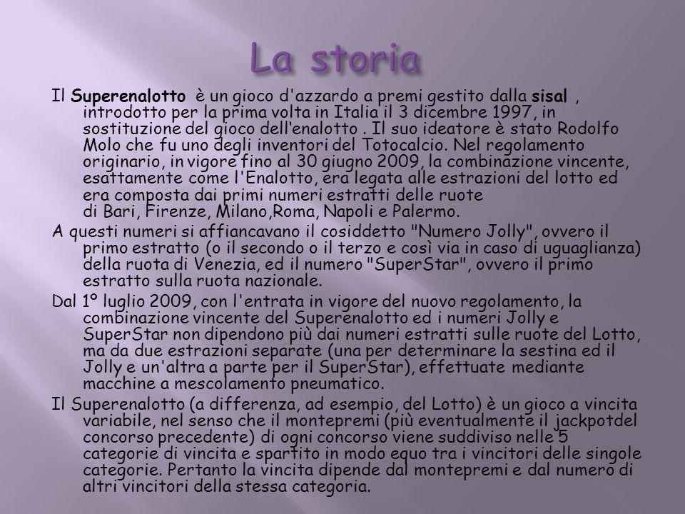 Il Superenalotto è un gioco d'azzardo a premi gestito dalla sisal, introdotto per la prima volta in Italia il 3 dicembre 1997, in sostituzione del gio