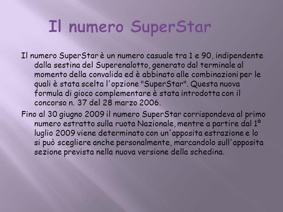 Il numero SuperStar è un numero casuale tra 1 e 90, indipendente dalla sestina del Superenalotto, generato dal terminale al momento della convalida ed