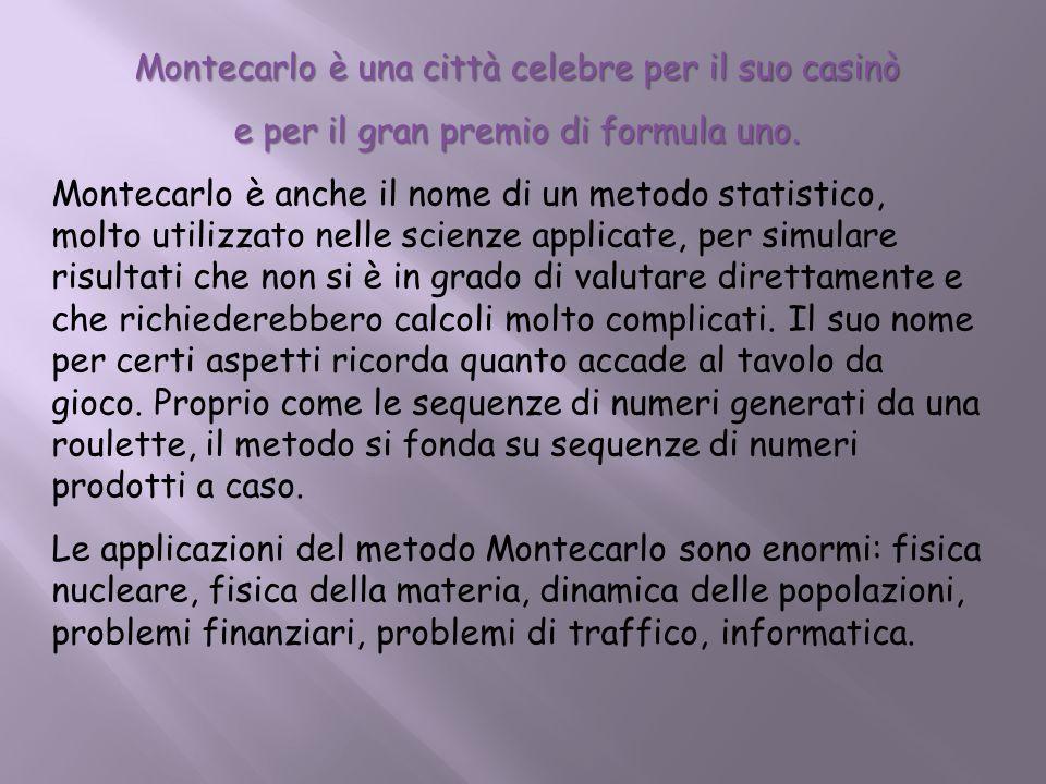 Montecarlo è una città celebre per il suo casinò e per il gran premio di formula uno. Montecarlo è anche il nome di un metodo statistico, molto utiliz