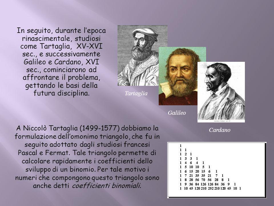 A Niccolò Tartaglia (1499-1577) dobbiamo la formulazione dellomonimo triangolo, che fu in seguito adottato dagli studiosi francesi Pascal e Fermat. Ta