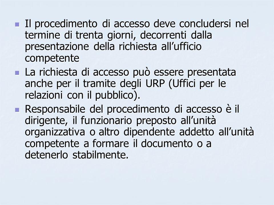 Il procedimento di accesso deve concludersi nel termine di trenta giorni, decorrenti dalla presentazione della richiesta allufficio competente Il proc