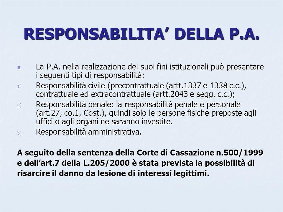 RESPONSABILITA DELLA P.A. La P.A. nella realizzazione dei suoi fini istituzionali può presentare i seguenti tipi di responsabilità: La P.A. nella real