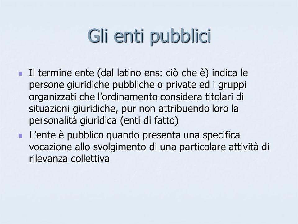 Gli enti pubblici Il termine ente (dal latino ens: ciò che è) indica le persone giuridiche pubbliche o private ed i gruppi organizzati che lordinament