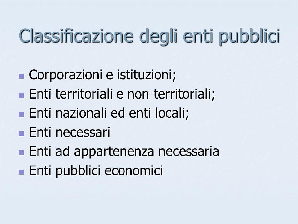 Classificazione degli enti pubblici Corporazioni e istituzioni; Corporazioni e istituzioni; Enti territoriali e non territoriali; Enti territoriali e