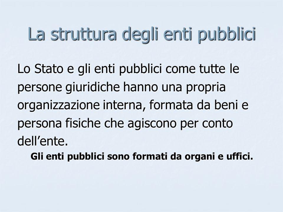 La struttura degli enti pubblici Lo Stato e gli enti pubblici come tutte le persone giuridiche hanno una propria organizzazione interna, formata da be