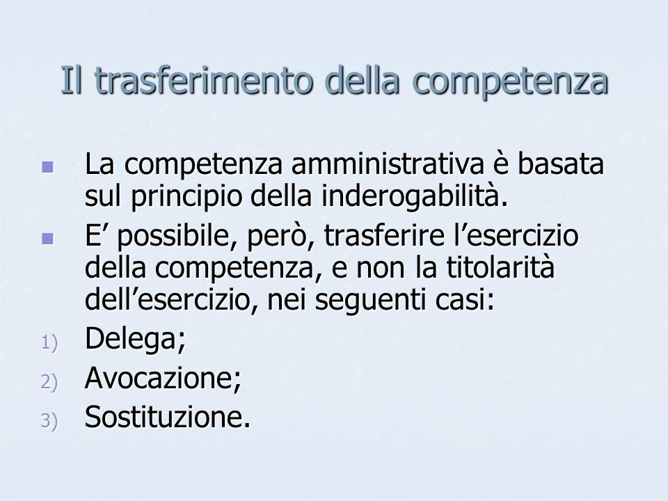 Il trasferimento della competenza La competenza amministrativa è basata sul principio della inderogabilità. La competenza amministrativa è basata sul