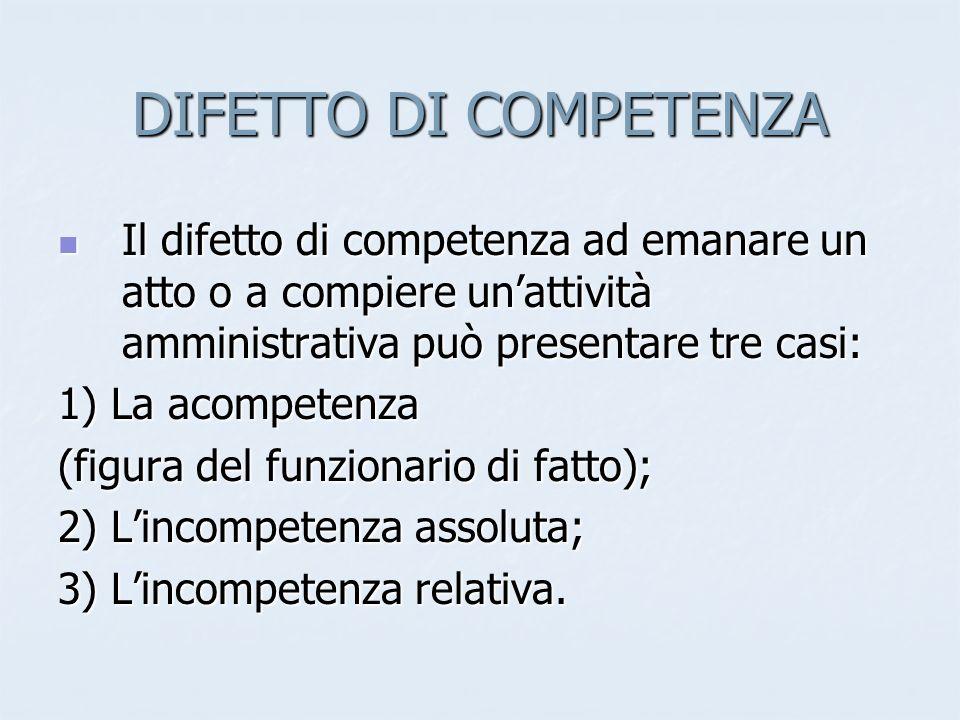 DIFETTO DI COMPETENZA Il difetto di competenza ad emanare un atto o a compiere unattività amministrativa può presentare tre casi: Il difetto di compet