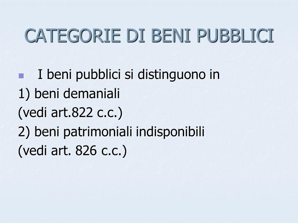 CATEGORIE DI BENI PUBBLICI I beni pubblici si distinguono in I beni pubblici si distinguono in 1) beni demaniali (vedi art.822 c.c.) 2) beni patrimoni
