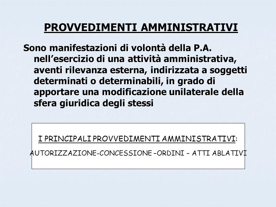 PROVVEDIMENTI AMMINISTRATIVI Sono manifestazioni di volontà della P.A. nellesercizio di una attività amministrativa, aventi rilevanza esterna, indiriz