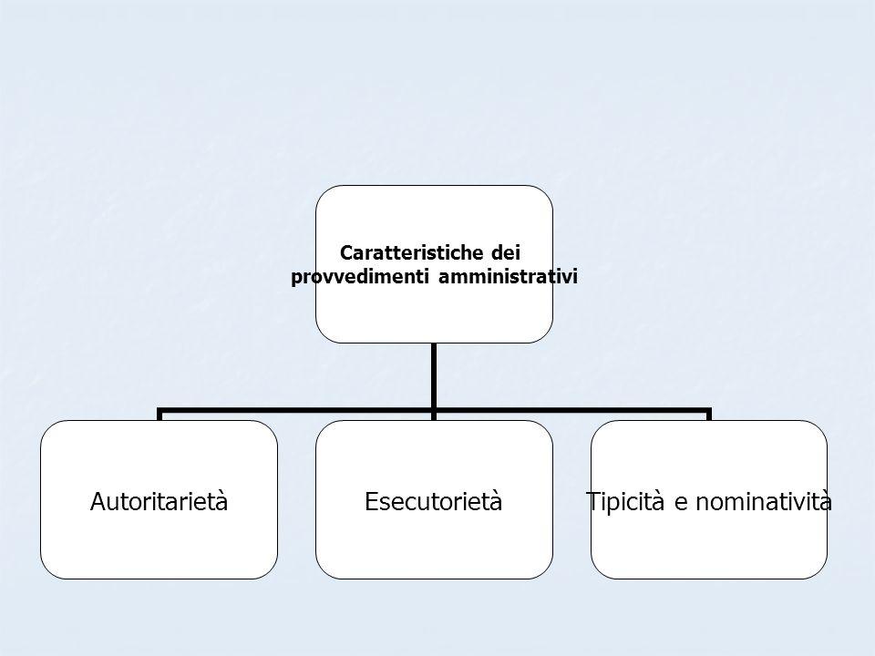 Caratteristiche dei provvedimenti amministrativi AutoritarietàEsecutorietà Tipicità e nominatività