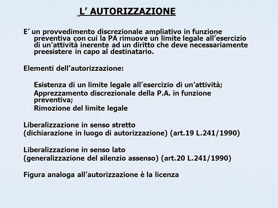 L AUTORIZZAZIONE E un provvedimento discrezionale ampliativo in funzione preventiva con cui la PA rimuove un limite legale allesercizio di unattività