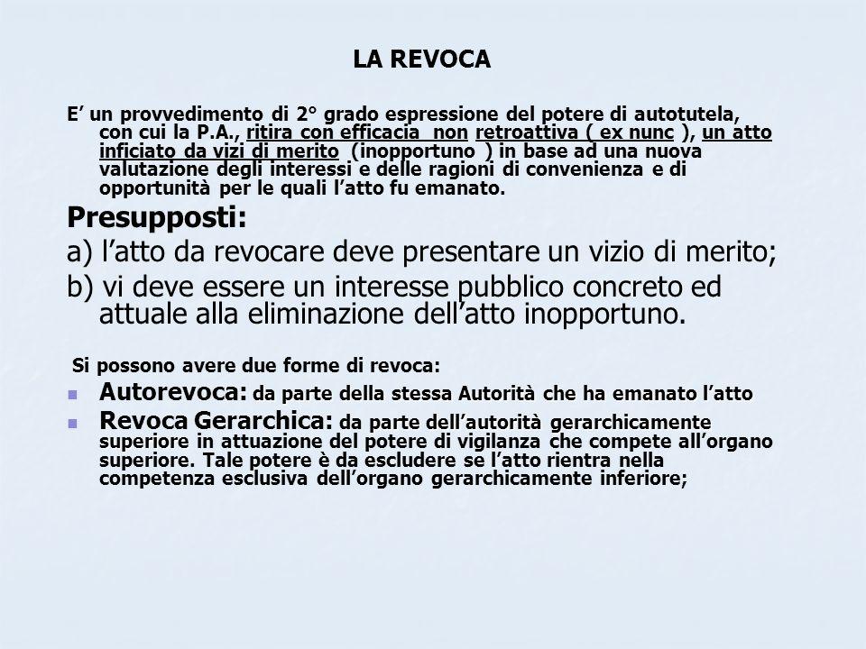 LA REVOCA E un provvedimento di 2° grado espressione del potere di autotutela, con cui la P.A., ritira con efficacia non retroattiva ( ex nunc ), un a
