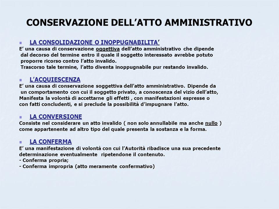 CONSERVAZIONE DELLATTO AMMINISTRATIVO LA CONSOLIDAZIONE O INOPPUGNABILITA E una causa di conservazione oggettiva dellatto amministrativo che dipende d