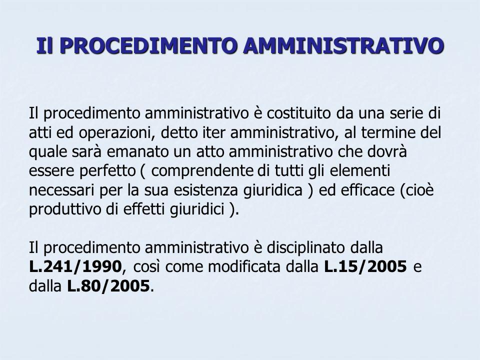 Il PROCEDIMENTO AMMINISTRATIVO Il procedimento amministrativo è costituito da una serie di atti ed operazioni, detto iter amministrativo, al termine d