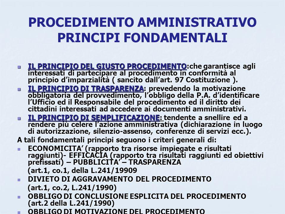 PROCEDIMENTO AMMINISTRATIVO PRINCIPI FONDAMENTALI IL PRINCIPIO DEL GIUSTO PROCEDIMENTO:che garantisce agli interessati di partecipare al procedimento