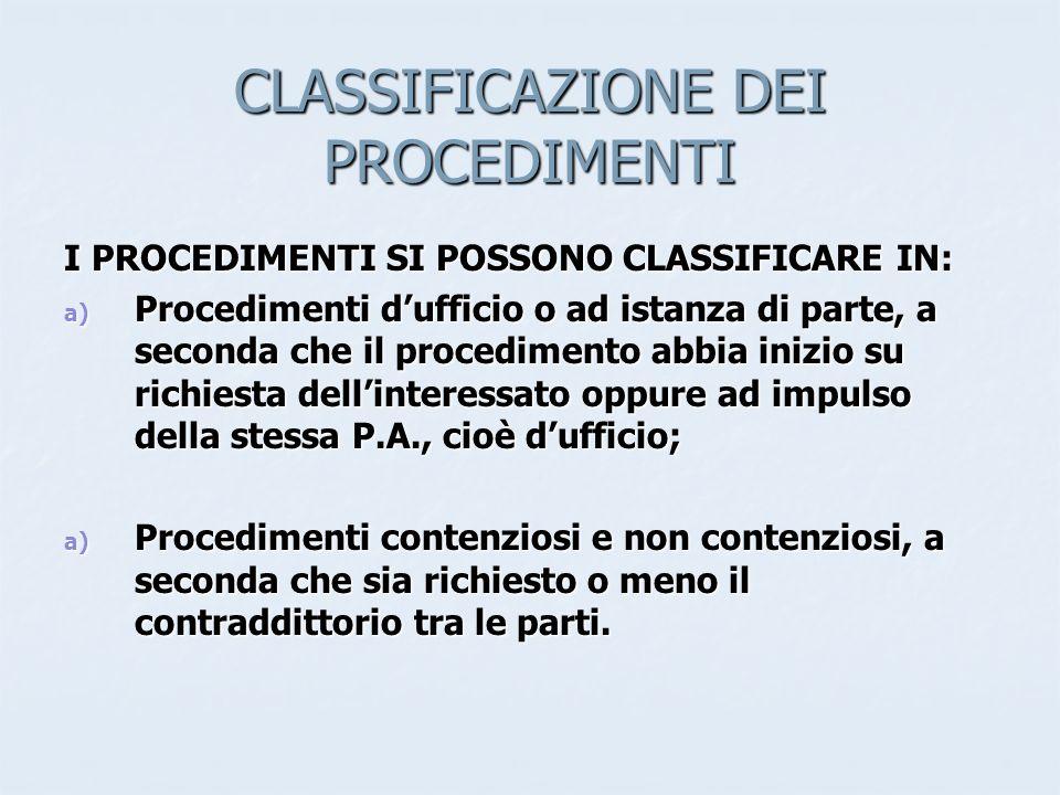 CLASSIFICAZIONE DEI PROCEDIMENTI I PROCEDIMENTI SI POSSONO CLASSIFICARE IN: a) Procedimenti dufficio o ad istanza di parte, a seconda che il procedime