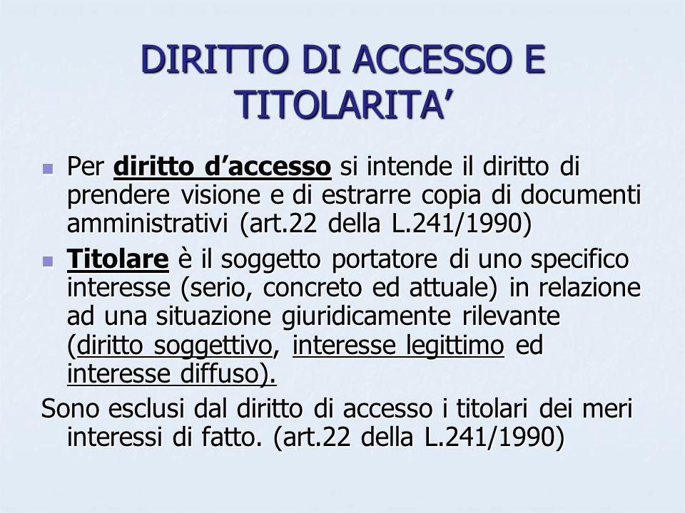 DIRITTO DI ACCESSO E TITOLARITA Per diritto daccesso si intende il diritto di prendere visione e di estrarre copia di documenti amministrativi (art.22