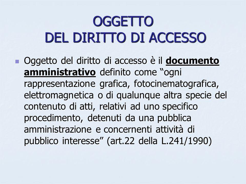 OGGETTO DEL DIRITTO DI ACCESSO Oggetto del diritto di accesso è il documento amministrativo definito come ogni rappresentazione grafica, fotocinematog