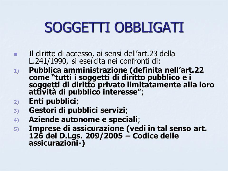 SOGGETTI OBBLIGATI Il diritto di accesso, ai sensi dellart.23 della L.241/1990, si esercita nei confronti di: Il diritto di accesso, ai sensi dellart.