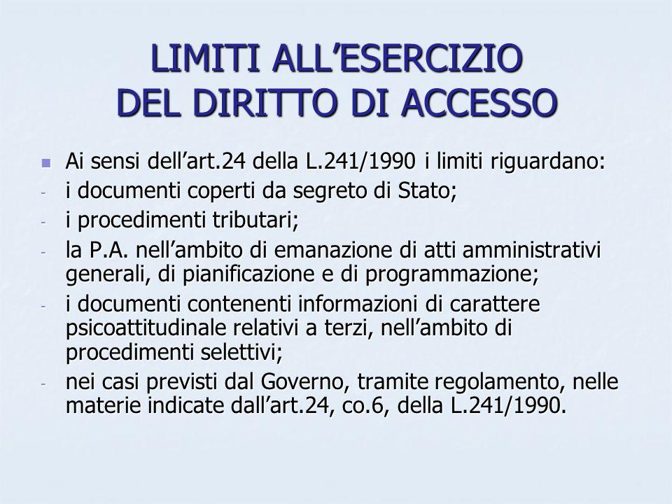 LIMITI ALLESERCIZIO DEL DIRITTO DI ACCESSO Ai sensi dellart.24 della L.241/1990 i limiti riguardano: Ai sensi dellart.24 della L.241/1990 i limiti rig