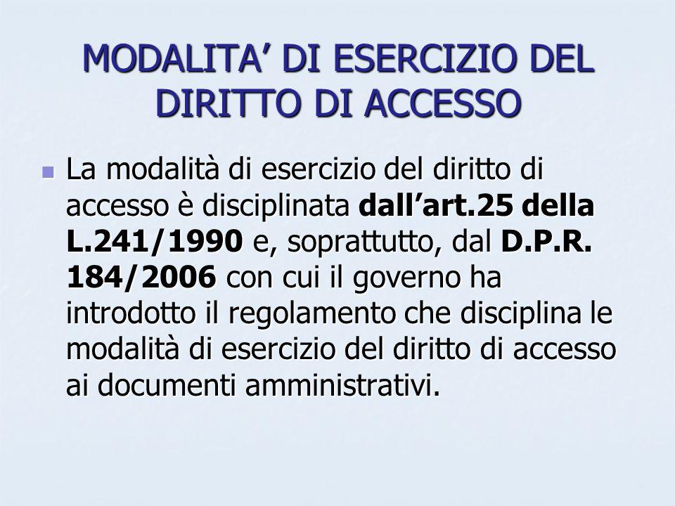 MODALITA DI ESERCIZIO DEL DIRITTO DI ACCESSO La modalità di esercizio del diritto di accesso è disciplinata dallart.25 della L.241/1990 e, soprattutto