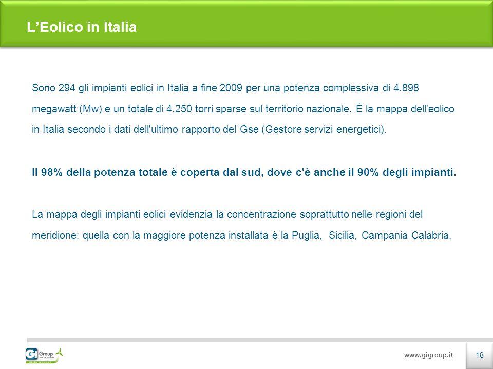 www.gigroup.it Sono 294 gli impianti eolici in Italia a fine 2009 per una potenza complessiva di 4.898 megawatt (Mw) e un totale di 4.250 torri sparse sul territorio nazionale.