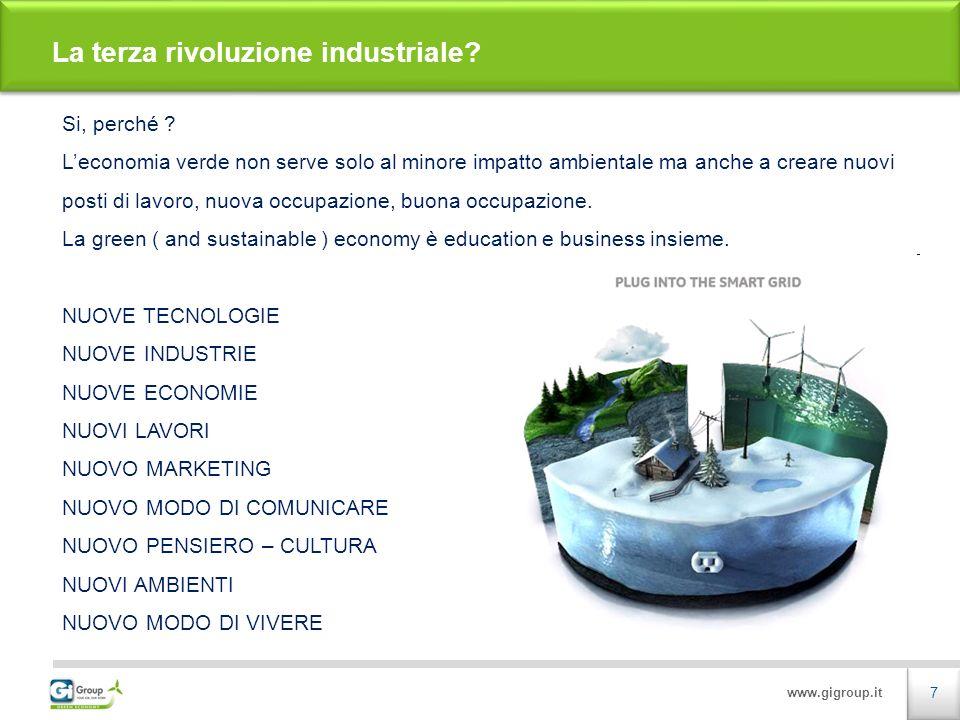 www.gigroup.it Possiamo sicuramente affermare, e trovare condivisione diffusa, che i Green Jobs Sono tutti i mestieri svolti nel settore delle Energie Prodotte da Fonti Rinnovabili e delle attività eco-compatibili.