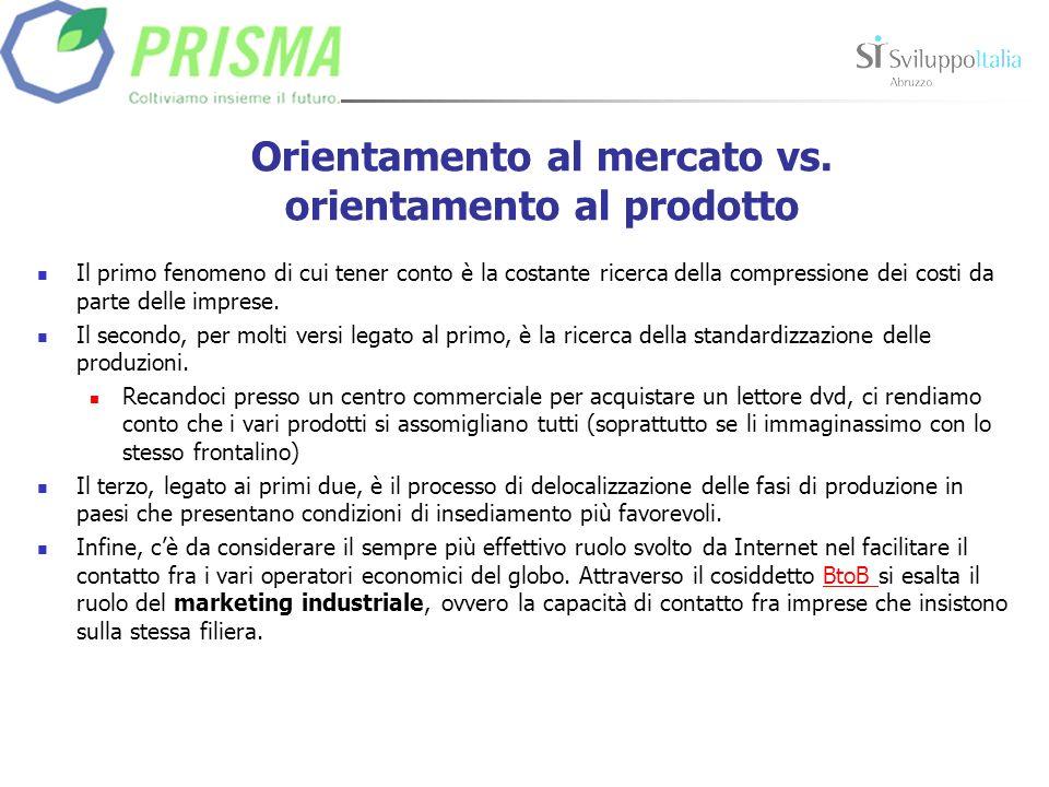 Orientamento al mercato vs. orientamento al prodotto Il primo fenomeno di cui tener conto è la costante ricerca della compressione dei costi da parte