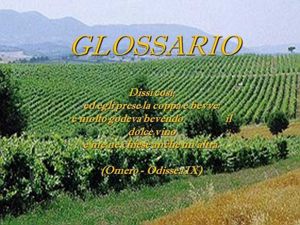 GLOSSARIO Dissi così, ed egli prese la coppa e bevve: e molto godeva bevendo il dolce vino e me ne chiese anche unaltra. (Omero - Odissea IX)