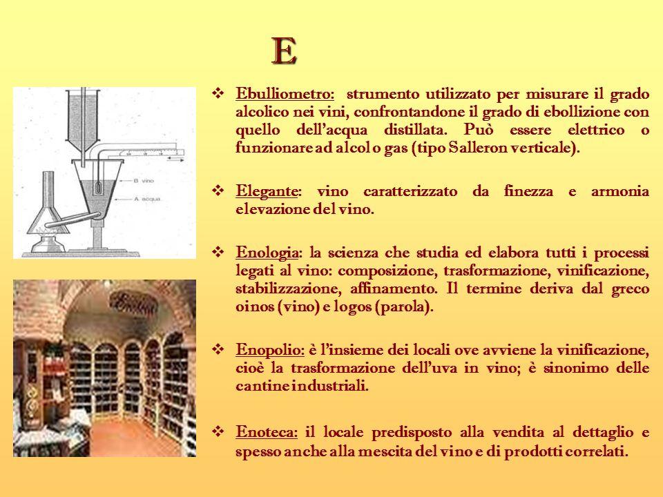 E Ebulliometro: strumento utilizzato per misurare il grado alcolico nei vini, confrontandone il grado di ebollizione con quello dellacqua distillata.